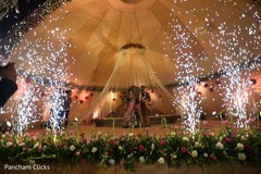 Indian bride and groom's entrance to wedding reception