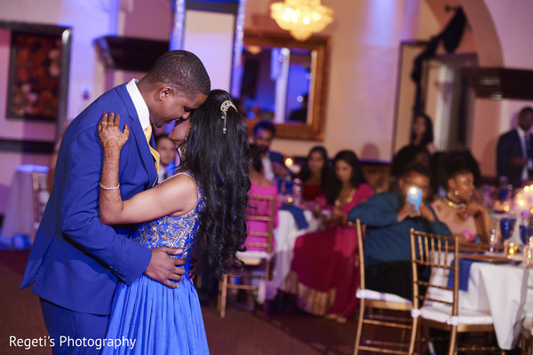 Romantic indian couple during their first dance