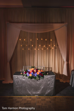 indian wedding,reception decor,sweethearts table