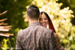 Indian newlyweds romantic moment