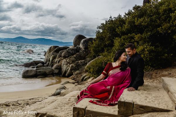 Beach themed bride and groom capture