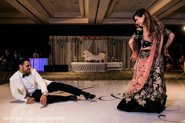 Vibrant indian newlyweds dance performance