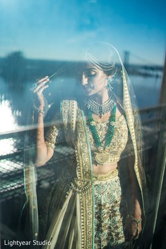 Beautiful gold and green bridal lengha