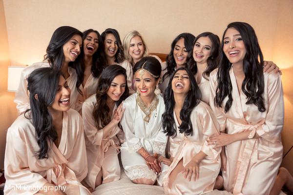 Sweet indian bridesmaids posing for photo shoot