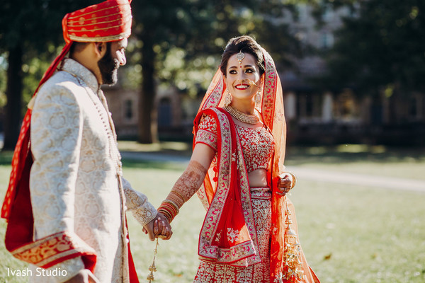 Lovely indian couple walking