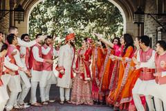 Joyful indian bridal party
