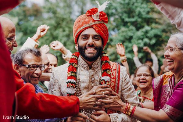 Joyful indian groom