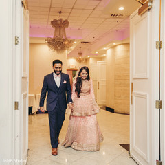 Indian newlyweds about to enter their reception