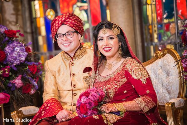 Sweet indian couple enjoying their wedding ceremony
