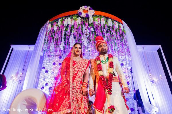 Adorable indian couple during wedding ritual