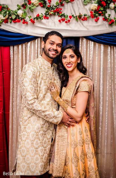 Indian couple at their engagement mehndi