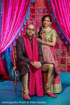 Adorable indian couple at their sangeet