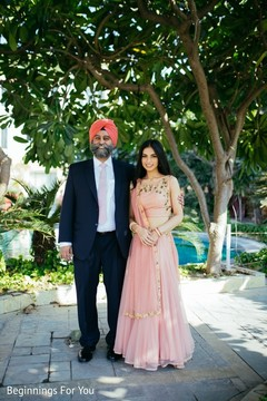 Lovely indian bride with father portrait