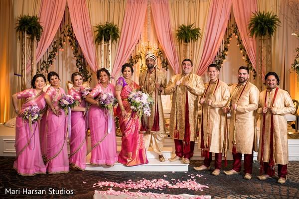 Sensational  indian groom with bridesmaids photo shoot