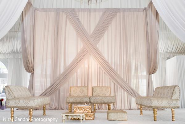 Marvelous draped mandap set up for Indian wedding ceremony.