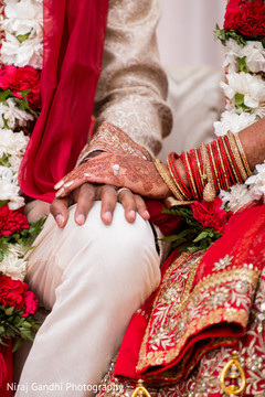 Indian bride and groom hands close up capture.