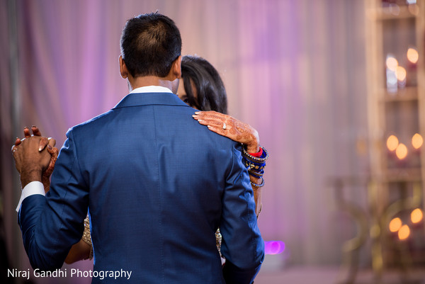 Indian bride and groom first dance capture.
