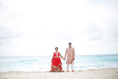 Marvelous Indian bride and groom by the sea.