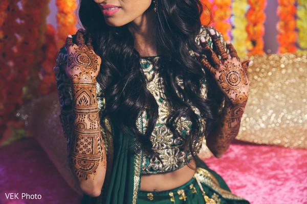 Indian bride showing mehndi art