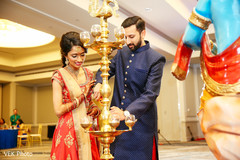 Indian bride and groom during sangeet celebration