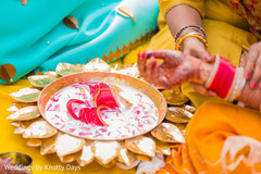 Traditional Indian bride's pre-wedding ritual.