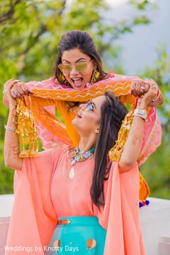 Colorful Indian pre-wedding celebration capture.