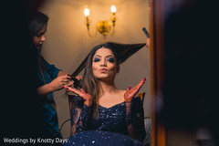 Gorgeous Indian bride getting ready for her wedding reception.