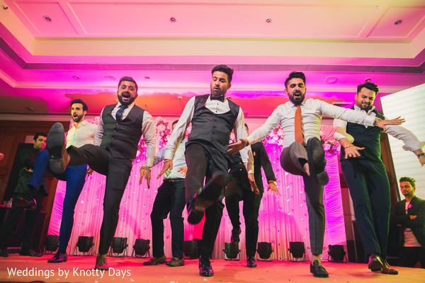 Indian groom and groomsmen performance capture.