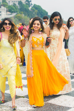 Lovely maharani with bridesmaids capture.