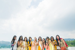 Funny Indian bride with bridesmaids capture.