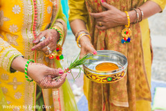 Indian pre-wedding ceremony ritual items.