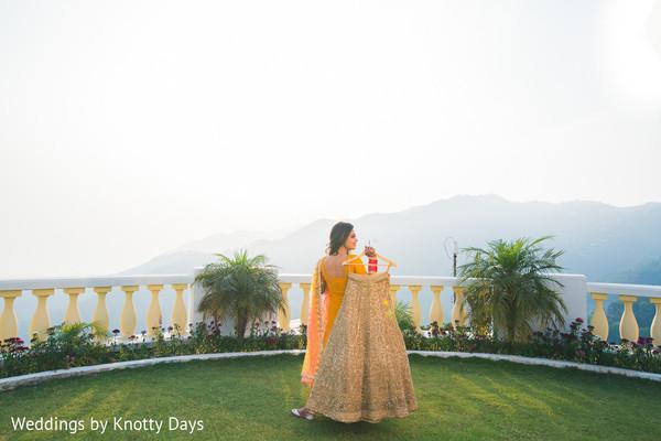 Golden lengha for Indian bride portrait.