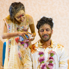 Lovely indian couple during haldi