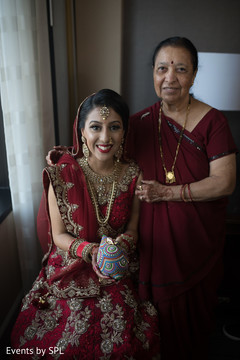 Beautiful capture of indian bride with mother