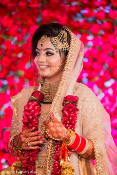 Indian bride on her wedding ceremony attire.