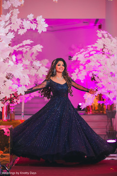 Majestic Indian bride on her wedding reception fashion.