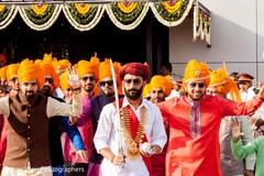Indian groom leading baraat