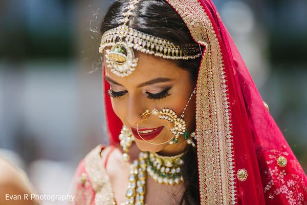 Sweet indian bride at her wedding ceremony