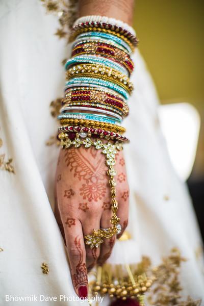 Hath Panja bracelet with bangles closeup capture.