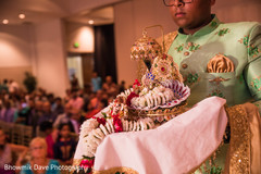 Indian wedding Ganesha with garlands  items for ritual.