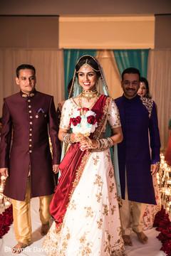 Beautiful Maharani walking the aisle to her wedding ceremony.