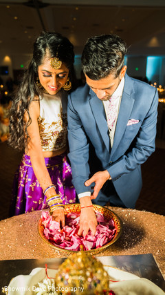 Indian bride and groom at their wedding reception.