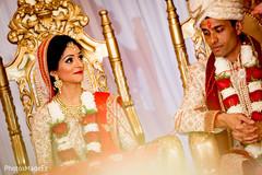 Joyful indian couple during wedding ceremony