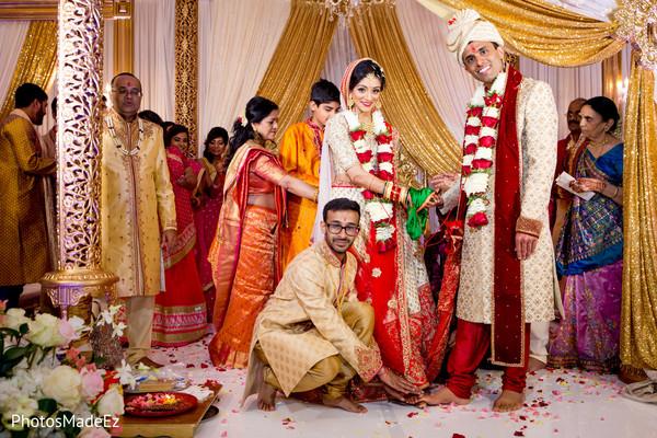 Elegant indian couple with parents portrait