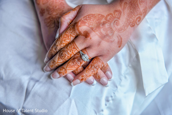 Incredible Indian bridal mehndi and engagement ring.