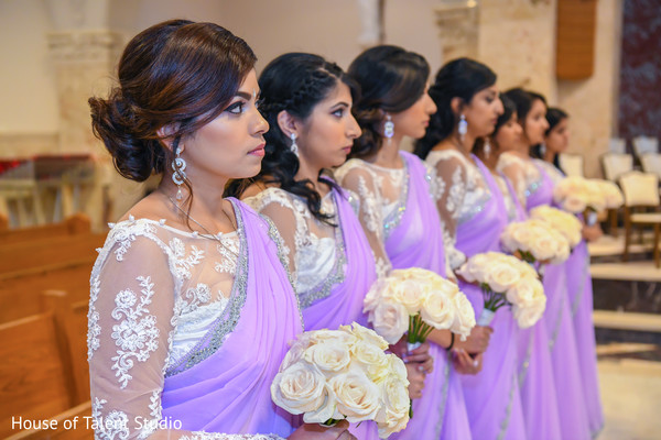 Marvelous Indian bridesmaids at ceremony capture.