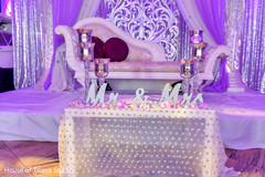 Indian wedding reception Personalized table decor.