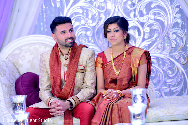 Sweet Indian couple at their wedding reception.