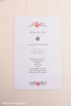 Indian wedding ceremony program.