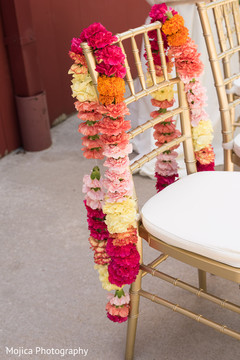 Colorful Indian wedding ceremony garlands.